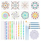 Herramientas de puntos de mandala, Kit de pintura Mandala de 28 piezas Juego de pintura DIY Mandala Art que incluye varillas de acrílico Mandala Stencil