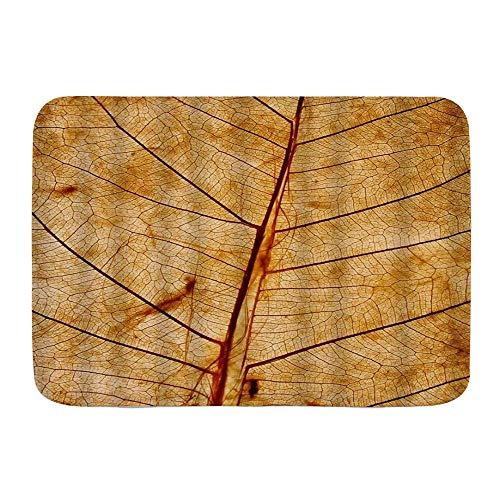 Throwpillow Alfombrilla De Baño Antideslizante Hoja Otoño Naturaleza Arte Textura Hoja Veta Follaje Orgánico Dorado Gracioso Alfombra Lavable a Máquina