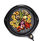 Elite Platinum Elite Gourmet EMG-980B Large Indoor Electric Round Nonstick Grill Cool Touch Fast Heat Up Ideal Low-Fat Meals Dishwasher Safe Includes Glass Lid, Black, 14'
