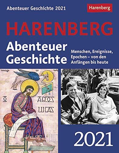 Abenteuer Geschichte - Kalender 2021 - Harenberg-Verlag - Tagesabreißkalender mit spannenden Geschichtsfragen - 13 cm x 15,8 cm