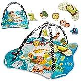Lionelo Anika 2 en 1 alfombra educativa 115 x 100 x 53 cm almohada Tummy Time 2 arcos 4 juguetes colgantes sonajeros mordedores espejo libro interactivo (Multicolor)