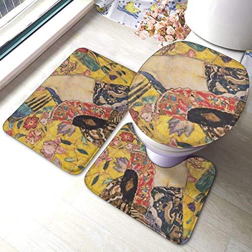 GABRI 3 Piece Juego de Alfombra de baño para Mujer con Ventilador, Almohadillas Antideslizantes Alfombrilla de baño + Contorno + Tapa de Inodoro