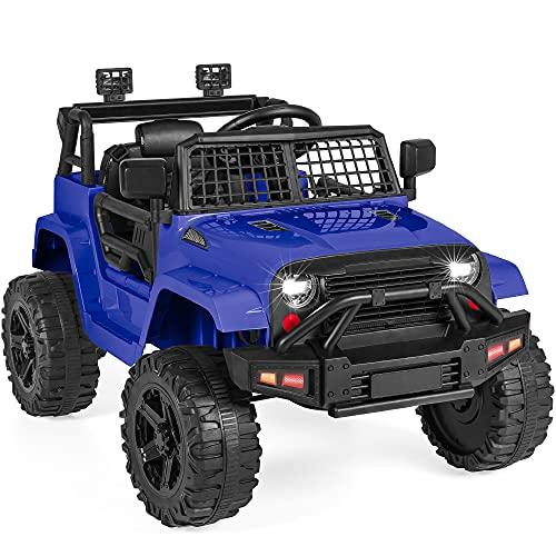 Best Choice Products 12V Kids Ride On Truck Car w/Parent Remote Control, Spring Suspension, LED Lights, AUX Port - Blue