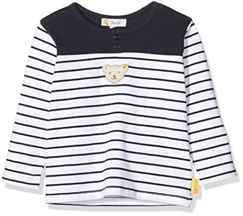 Steiff Baby-Jungen mit Streifen und Teddybärmotiv Sweatshirt, Blau (Black Iris 3032), 56 (Herstellergröße: 056)
