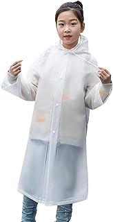 Enerhu Kids Raincoat Waterproof Rain Poncho Jacket with Backpack Cover for Girls Boys