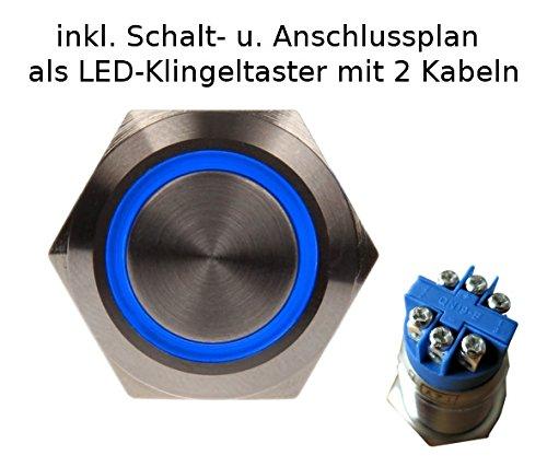 Taster 19mm Edelstahl VA 230V/5A LED blau 12V Drucktaster Klingeltaster
