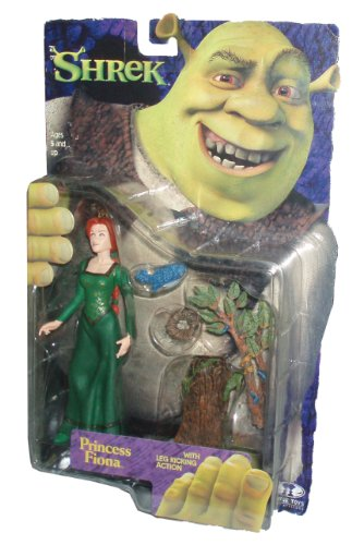 Dreamworks Movie Series Year 2001 SHREK 6 Inch Tall Action Figure - PRINCESS FIONA with Leg Kicking Action Plus Tree with Bird and Bird's Nest by Shrek