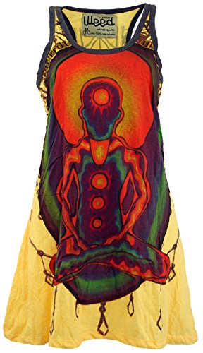 Guru-Shop Weed Top, Longshirt, Minikleid Chakra Yogi, Damen, Mangogelb, Baumwolle, Size:M (38), Bedrucktes Shirt Alternative Bekleidung