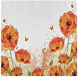 Juego de 4 servilletas de tela de mariposa con flores de amapola roja, servilletas de poliéster lavables para cenar, servilletas de mesa suaves y reutilizables para el hogar, Navidad, fiestas, bod