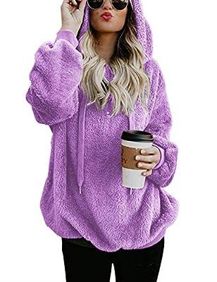 Women's Long Sleeve Hooded Fleece Sweatshirt Warm Fuzzy Zip Up Hoodie with Pockets Purple M