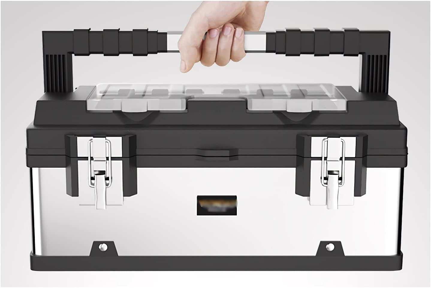 Toolbox Tool Max 82% OFF Box Stainless Steel New sales Removable Tray L with Organizer