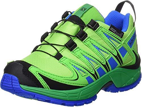 Chaussures basses Salomon Unisex-Kinder XA Pro 3D très appropriés pour les randonnées, Garçon, Outdoorschuh Xa Pro 3d Cswp, tonic green/athletic green/union blue, 26 EU
