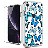 LUHOURI iPhone XR Case with Screen Protector,Clear TPU Bumper with Floral Flower for Girls Women,Shockproof Slim Fit Protective Phone Case for iPhone XR Blue Butterflies