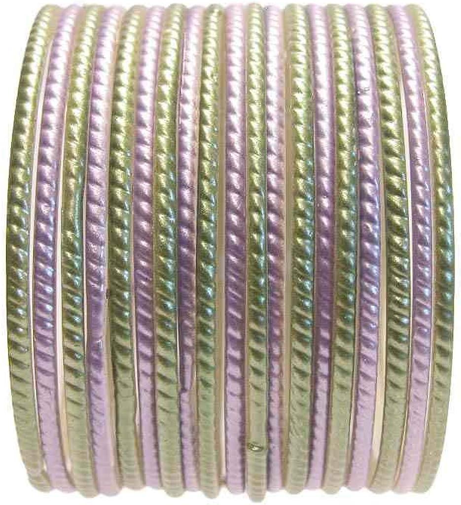 Beachcombers 18 Individual Glass Bangles Size 2.10 ML: Sage Lavender Green Sari Bracelets Bollywood Belly Dance Fashion Jewelry Set