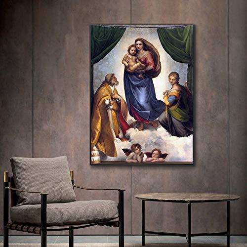 AJleil Puzzle 1000 Piezas Madonna Famosa Pintura Decorativa de la Virgen de Jesús Puzzle 1000 Piezas Rompecabezas de Juguete de descompresión intelectual50x75cm(20x30inch)