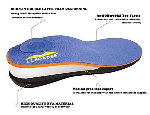 LLSOARSS Orthotic Insoles for Flat Feet - Arch Support Shoe Inserts for Plantar Fasciitis
