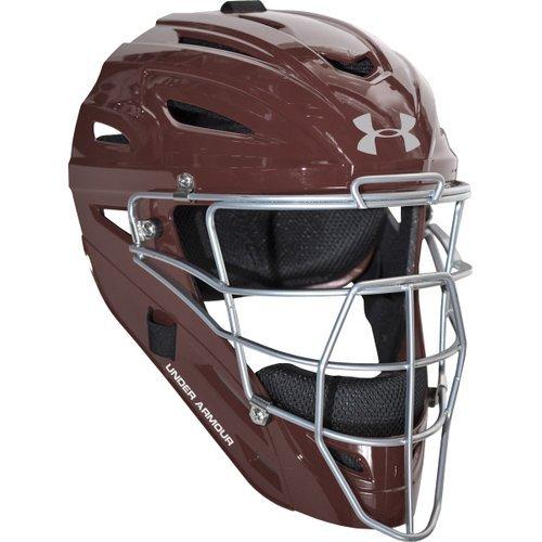 Under Armour Professional Glänzendes Erwachsene Baseball Catcher Helm, kastanienbraun