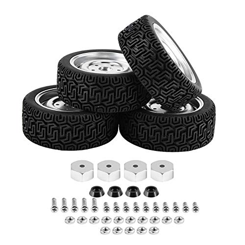 Germerse Neumático para WPL B16, Compacto de Goma fácil de Instalar de 6,8 x 2,5 cm Neumático para WPL B24 con 4 neumáticos para automóvil para Trabajador(Metal 4-Hole Silver 7-Shaped Tire WPL1649S)