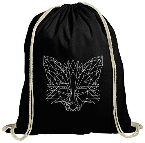 ShirtStreet Fox natur Turnbeutel mit Polygon Fuchs Motiv, Größe: onesize,schwarz natur