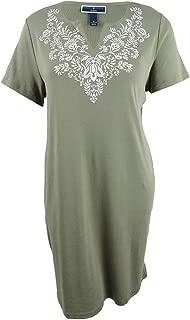 Womens Plus Printed V-Neck Shirtdress