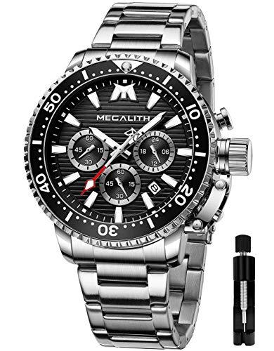 MEGALITH Reloj Hombre Militar Cronógrafo Relojes Hombre Acero Inoxidable Esfera Grande Relojes De Buceo para Hombre Luminosa Impermeable Negro Plata Reloj Analógico Hombre Fecha
