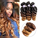 Allove Hair 10a Brazilian Ombre Loose Wave Bundles (10 12 14inch) 3 Bundles Remy Brazilian Virgin Hair 3 Tone 1B/4/27 Ombre Hair Extensions Human Hair Weave Bundles