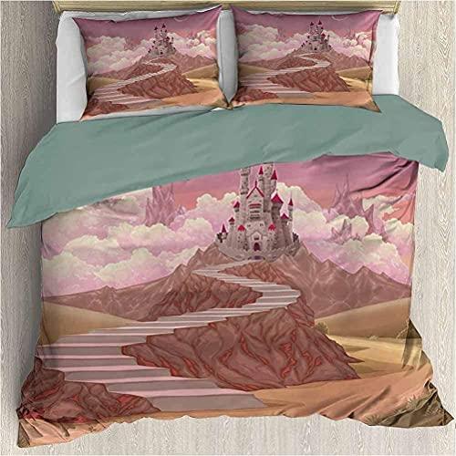 Bdppood Juego de ropa de cama con diseño de cuento de hadas de princesa y castillo de dibujos animados como imagen en la colina con imagen del atardecer, multicolor