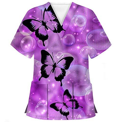 Hotkey Short Sleeve Tops for Women, V-Neck T-Shirts Butterfly Bubble Print Carer Tops Nursing Working Uniform Blouses Shirts