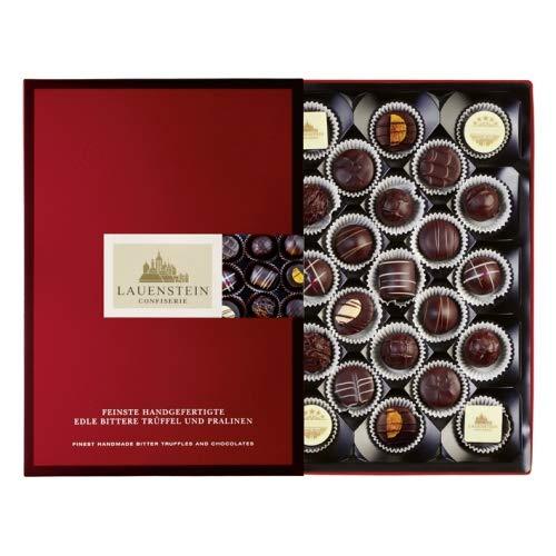 Lauensteiner edle bittere Spezialitäten - 300g Pralinen und Trüffel in dunkler Schokolade - 14 Sorten mit Alkohol - Schokoladen-Geschenk für den Freund oder die Freundin