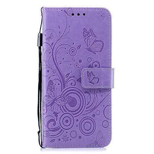 Docrax Galaxy A6+ (A6 Plus) Handyhülle, Hülle Leder Case mit Standfunktion Magnetverschluss Flipcase Klapphülle kompatibel mit Samsung Galaxy A6+ 2018 - DOXCH030090 Violett