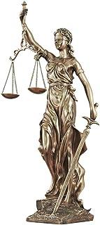 正義の女神像の彫刻、正義と剣bを運ぶ正義の置物の大規模な目隠しコールドキャストブロンズ樹脂ローマの女神-b 25x13x47cm(10x5x19inch)