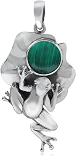 Created Malachite 925 Sterling Silver Lotus Leaf and Frog Pendant