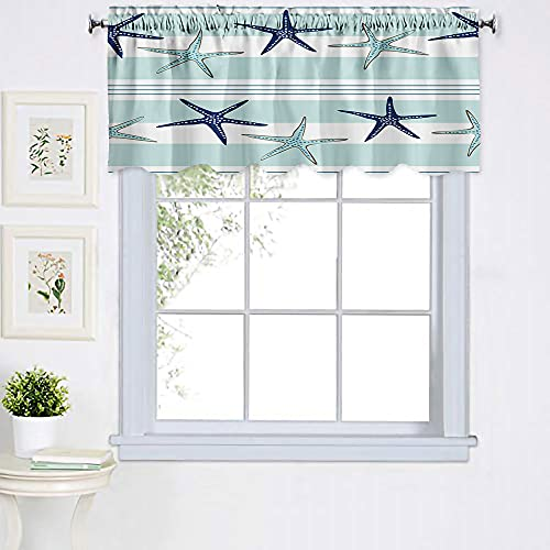 Fullentiart Coastal Navy Blue and Turquoise Sea Stars Stripe Nautical Valances Window Treatments Beach Valances for Windows 52X18 Inch Small Window Valance for Living Room,Dining Room,Bedroom