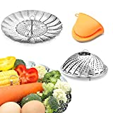 Vegetable Steamer Basket Stainless Steel Premium Folding Veggie Steamer, Steamer for Cooking...