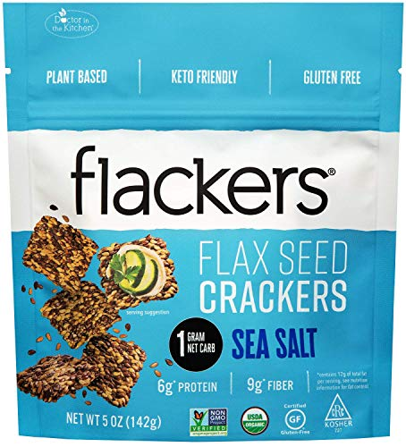 Doctor In The Kitchen, Flackers Organic Flax Seed Crackers, Sea Salt Flaxseed, 5-Ounce