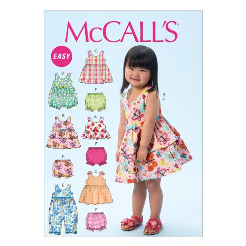 McCall Pattern Company M6944 Toddlers' Top, Dresses, Rompers and Panties, Size CAA