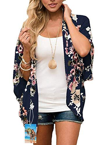 YULOONG - Kimono suelto para mujer, diseño floral, para verano, blusa informal, sexy, para la playa Azul azul marino XL