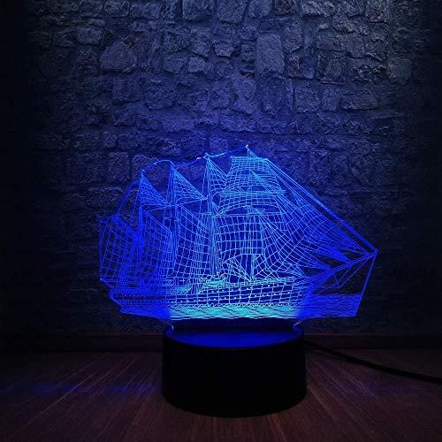 giyiohok 3D ilusión lámpara LED noche luz retro antigua vela mar barco estilo chino multicolor USB lámpara de mesa decoración niños sueño lámpara