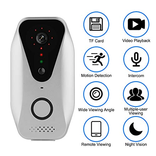 Video Deurbel Kamrea, Bewinner 720P Wifi Intercom Video Deurbel Remote Monitoring Deurbel Gratis Cloud Storage Infrarood Nachtzicht PIR Deurbel Camera, Werkt op Batterijen (Deurbel)