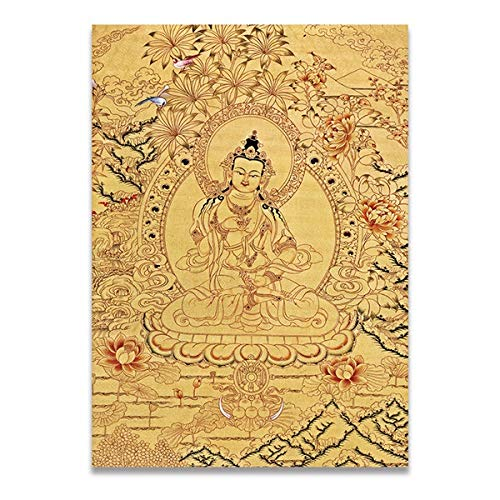 Thangka Boeddhistische Boeddha Thangka Canvas Print Painting Poster Art India Chinese Zen Decoration Wall Pictures Home Decor Obrazy Plakat (Color : 1, Size (Inch) : 20x25cm)