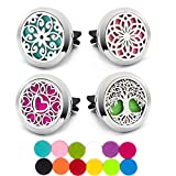 4 PCS Essential Oil Car Diffuser Vent Clip, Car Aromatherapy Diffuser Locket Air Freshener with 48 Refill Pads