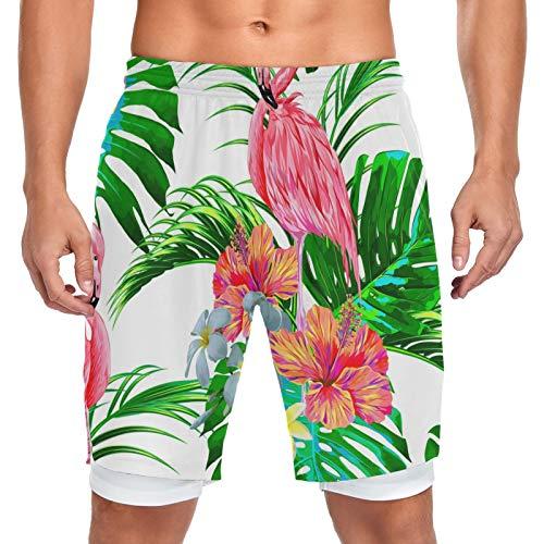 Mnsruu Jungle Flamingo Bird Palm Tree - Pantalones cortos para hombre