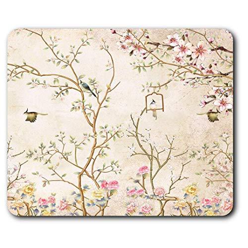 Comfortabele Muismat - Vintage Bloemen Vogels Behang Bloemen voor Computer & Laptop, Kantoor, Cadeau, Antislip Basis
