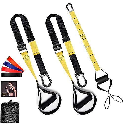Schlingentrainer Suspension-Schlingentraining mit Türanker, Verlängerungsgurt und 4 Gymnastikbänder für Ganzkörpertraining wie z.B. Kniebeugen, Liegestütz oder Bauchübungen Zu Hause