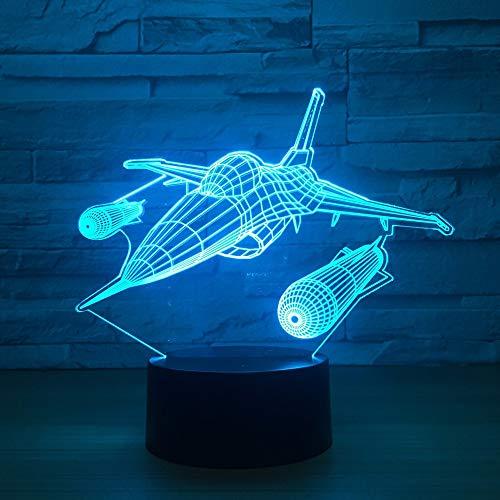 Wfmhra New Warplane Aircraft 3D Nachtlicht Tischlampe Multi Colors Jet Flugzeug mit USB Power Decor Geburtstagsfeiertag Neujahr Dekor Geschenk