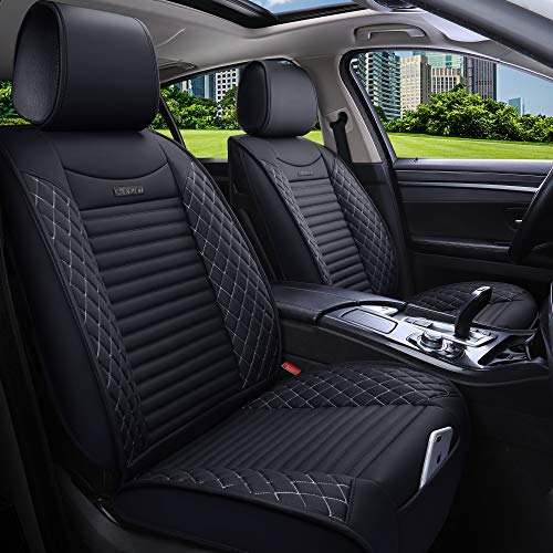 Aierxuan 5 Car Seat Covers Full Set Waterproof Leather Seat Protectors Car Cushion Covers Universal for Forester Legacy Outback Impreza Crosstrek Benz Hyundai Elantra Ford(Full Set/Black-White)