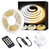 COB LED Tira de luces blanco CCT sintonizable, PAUTIX 5M regulable 2700K-6500K 24V Kit de luces de cinta LED con fuente de alimentación GS para iluminación de bricolaje de cocina de dormitorio