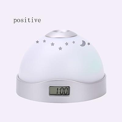 RFJJAL Reloj de Alarma de proyección de Tiempo, Reloj electrónico Luminoso LED Digital, Blanco