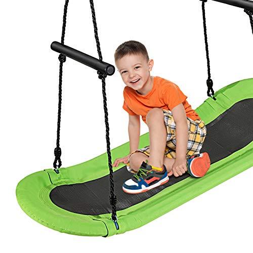 COSTWAY Nestschaukel Baumschaukel 100-160cm verstellbaren Seil, Hängeschaukel 150kg Tragkraft, Mehrkindschaukel Gartenschaukel für Kinder & Erwachsene 123x45cm (Grün)