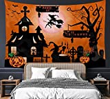 """Halloween Pumpkin Crow Witch Tapestry 60' x 80"""" Scary Night Wall Hanging Party Decorations Bedding Wall Blanket Art Home Decor for Bedroom Living Room Dorm (150 x 200cm)"""